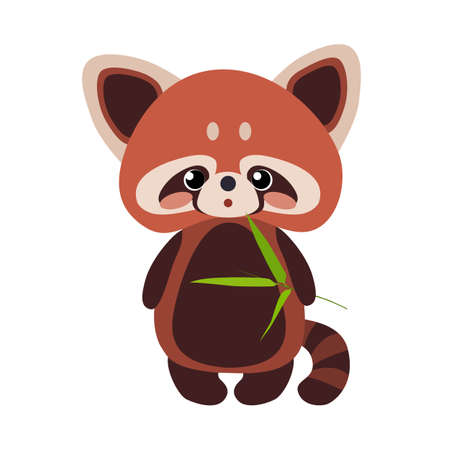 Red panda with a bamboo shoots