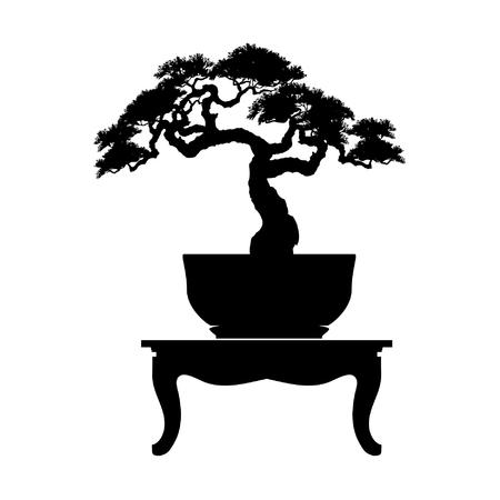 Bonsai boom zwart silhouet. Gedetailleerde afbeelding vectorillustratie.