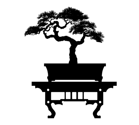 Bonsai tree. Black silhouette of bonsai. Detailed image. Vector illustration