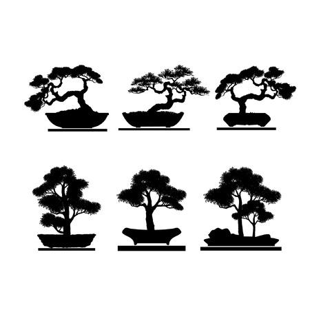 盆栽のセット。盆栽の黒いシルエット。詳細な画像。ベクターイラスト