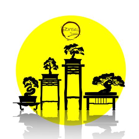 Set of Bonsai tree. Black silhouette of bonsai. Detailed image. Vector illustration