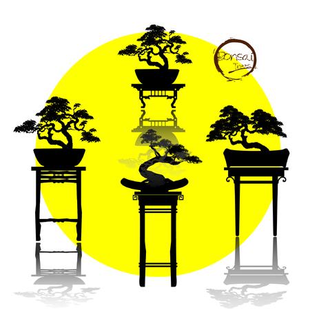 Set of Bonsai, Black silhouette of bonsai. Detailed image. Vector illustration  イラスト・ベクター素材