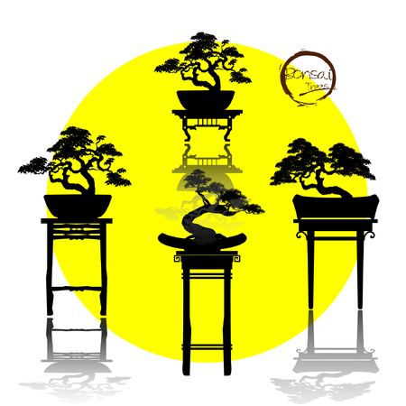 Set of Bonsai, Black silhouette of bonsai. Detailed image. Vector illustration Illustration
