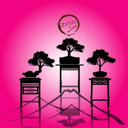 Set of Bonsai, Black silhouette of bonsai. Detailed image. Vector illustration Stock Illustratie