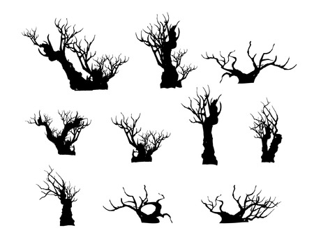 Bonsai tree, plant silhouette icons set on white background. Stock Illustratie