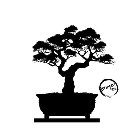 Japanse meidoornbonsai in bloei. Zwart silhouet van bonsai. Gedetailleerde afbeelding illustratie.