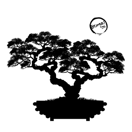 Japanese hawthorn bonsai in bloom Black silhouette of bonsai. Detailed image. Vector illustration.