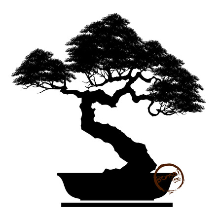 Black silhouette of bonsai Vector illustration,