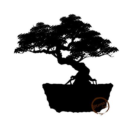 Black silhouette of bonsai Vector illustration