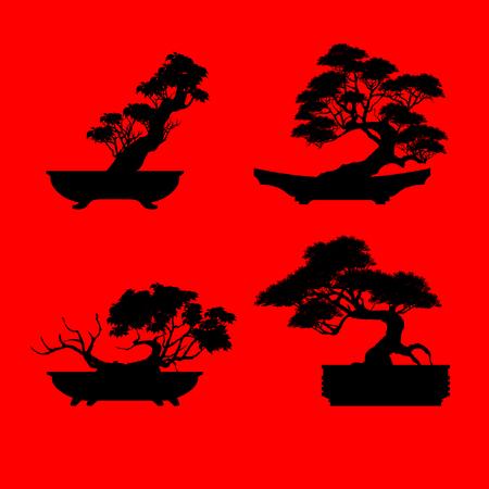 A set of Bonsai, Black silhouette of bonsai. Detailed image. Vector illustration