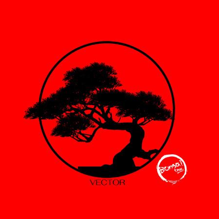 Bonsai boom, zwart silhouet van bonsai, gedetailleerd beeld, vectorillustratie,