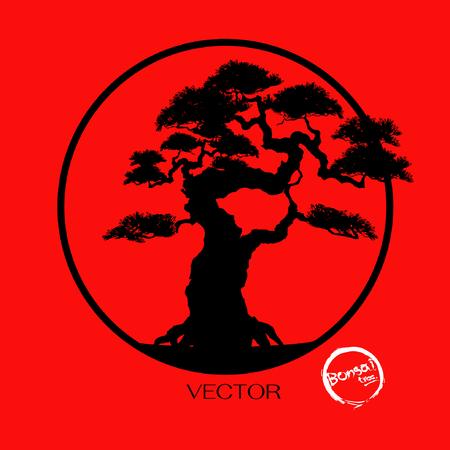 Bonsaiboom, Zwart silhouet van bonsai, Gedetailleerd beeld, vectorillustratie.