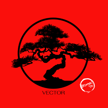 Bonsai tree, Black silhouette of bonsai, Detailed image, Vector illustration, 写真素材 - 94982690