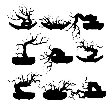 Set of Japanese bonsai tree, plant silhouette icons on white background.