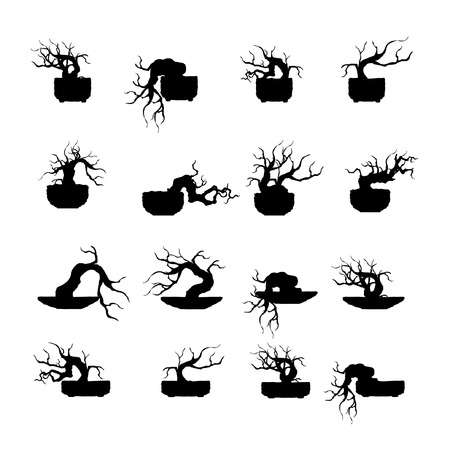 Set of Japanese bonsai tree, plant silhouette icons on white background.