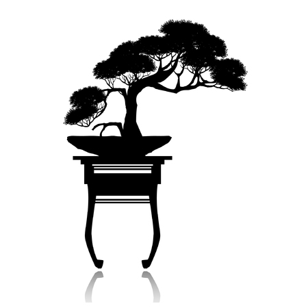 Japanese hawthorn bonsai in bloom, Black silhouette of bonsai. Detailed image. Vector illustration.
