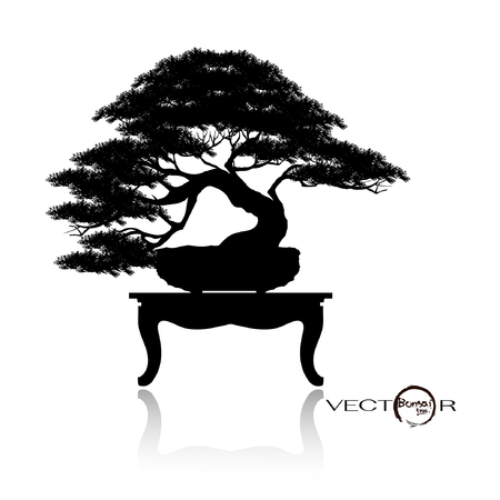 Japanese bonsai tree , plant silhouette icons on white background, Black silhouette of bonsai. Detailed image. Vector Ilustração