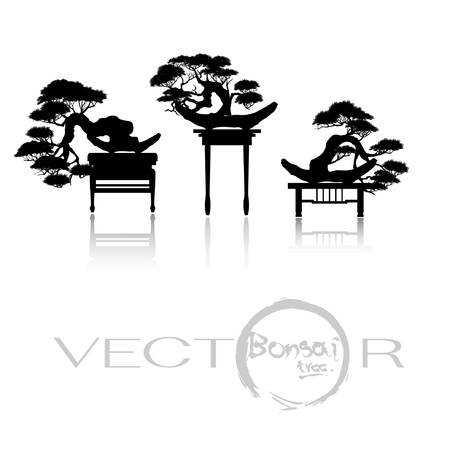 Japanese bonsai trees, plant silhouette icons on white background, Black silhouette of bonsai. Vector illustration.