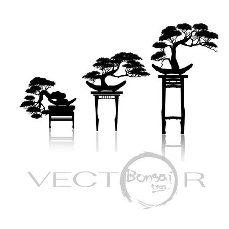 Japanese bonsai trees, plant silhouette icons on white background, Black silhouette of bonsai. Vector illustration.