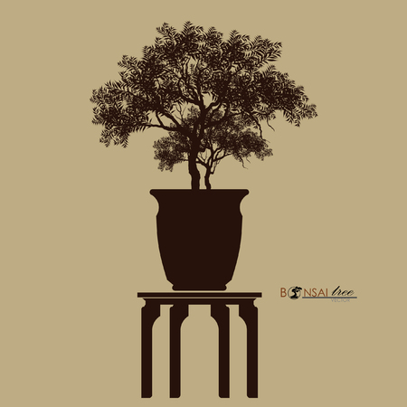 Black silhouette of bonsai vector illustration.