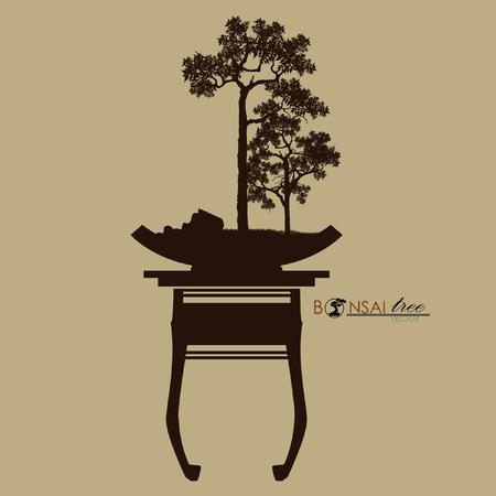 Bonsai tree, silhouette of bonsai, Detailed image, Vector illustration, Stock Illustratie