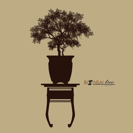 bonsai tree on the table. Vintage. realistic style. Vector illustration.