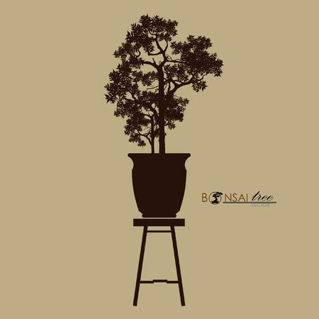 Bonsai tree on the table. Vintage realistic style. Vector illustration. Stock Illustratie