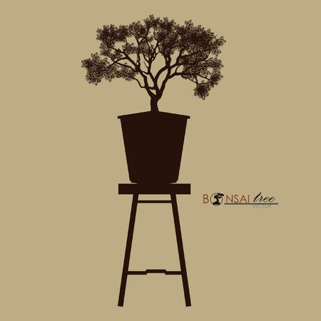 Bonsai tree on the table. Vintage realistic style. Vector illustration. Illustration