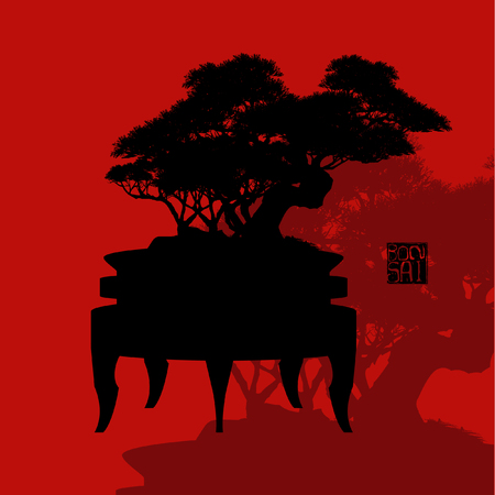Japanese hawthorn bonsai silhouette Vector illustration in red background