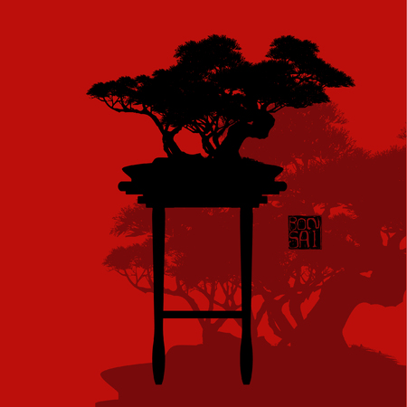 Japanese hawthorn bonsai silhouette vector illustration in red background.