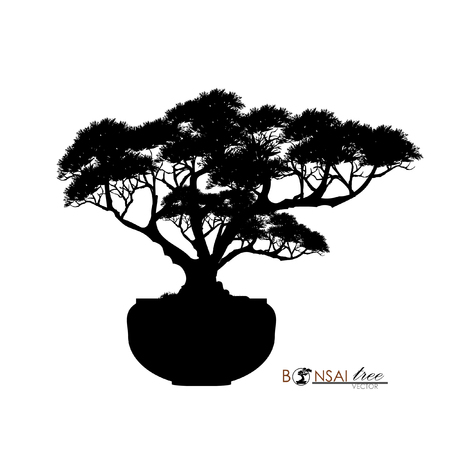 Japanese hawthorn bonsai, silhouette of bonsai. Detailed image, Mini tree, Vector illustration. Dwarf trees for design and website. Mini tree in pot. Ilustração
