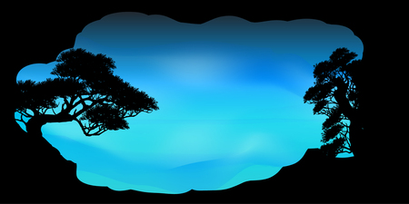 View of natural scenery, Beautiful Sky background, vector of realistic landscape for web. Black silhouette of trees and natural rocks on a colorful background. Illustration.