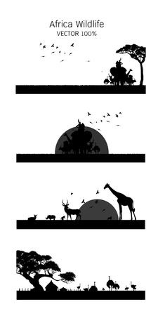 African Wildlife Background. Nature Background. African savanna landscape. safari card. vector.