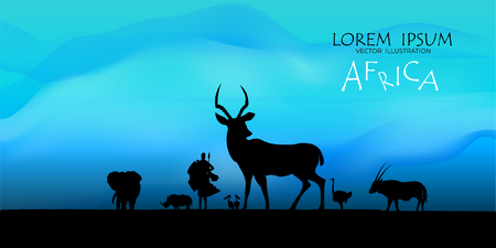 View of natural scenery, Beautiful Sky background, vector of realistic landscape for web. Black silhouette of animals, trees and natural on a colorful background. Illustration.African Wildlife Background. Natural Background. African savanna landscape. safari card. vector.