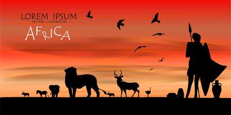 Vista del paesaggio naturale, bellissimo sfondo del cielo, vettore di paesaggio realistico per il web. Sagoma nera di animali, alberi e naturale su uno sfondo colorato. Illustrazione Sfondo di fauna selvatica africana. Sfondo naturale. Paesaggio della savana africana. carta di safari. vettore. Vettoriali