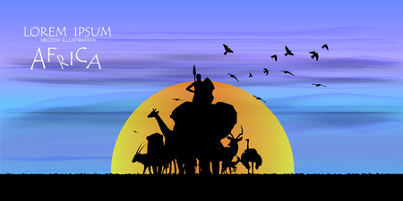 View of natural scenery, Beautiful Sky background, vector of realistic landscape for web. Black silhouette of animals, trees and natural on a colorful background. Illustration.African Wildlife Background. Natural Background. African savanna landscape. safari card. vector. 向量圖像
