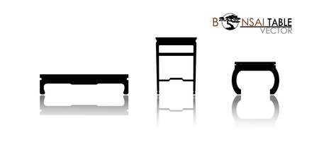 Bonsai table, Furniture table isolated on white background. Modern and retro tables, retro and office desk icons vector illustration. Set of table for interior Stock Illustratie