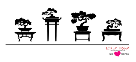 Set of Bonsai tree, black silhouette of bonsai, Detailed image, Vector illustration, Japanese and Chinese trees. Mini tree in pot on white background.
