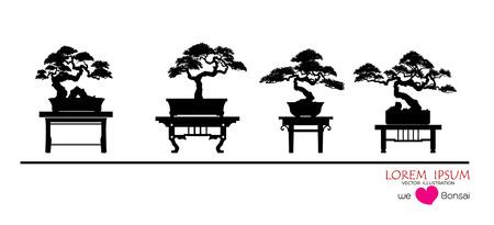 Ensemble de bonsaï, silhouette noire de bonsaï, image détaillée, illustration vectorielle, arbres japonais et chinois. Mini arbre en pot sur fond blanc.