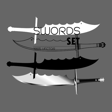 Swords Vector Collection on Background, Military sword ancient weapon design silhouette, Ancient Europe weapon of swords. Viking's sword, sword knights crusaders,
