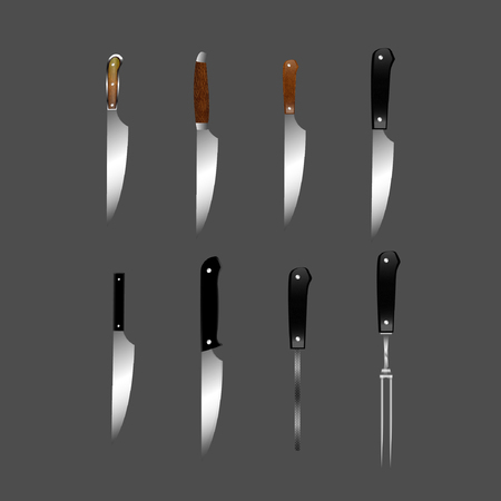 Set of butcher meat knives for butcher shop, Vintage typographic hand-drawn. Meat cutting knives, Cutlery icon set vector realistic kitchen knives isolated, Vector illustration.