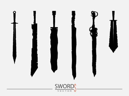 Schwerter eingestellt. Schwert auf Hintergrund isoliert, Militärschwert, alte Waffendesign-Silhouette, europäische gerade Schwerter, Vektorillustration, Dolche und Messer von Hand gezeichnet