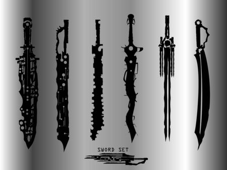 swords set. sword isolated on background , Military sword  ancient weapon design silhouette, European straight swords,vector illustration, Daggers and Knifes Hand Drawn Stock Illustratie