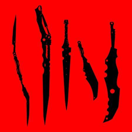 Schwerter eingestellt. Schwert auf Hintergrund isoliert, Militärschwert alte Waffendesign Silhouette, europäische gerade Schwerter., Vektorillustration, Dolche und Messer von Hand gezeichnet Draw