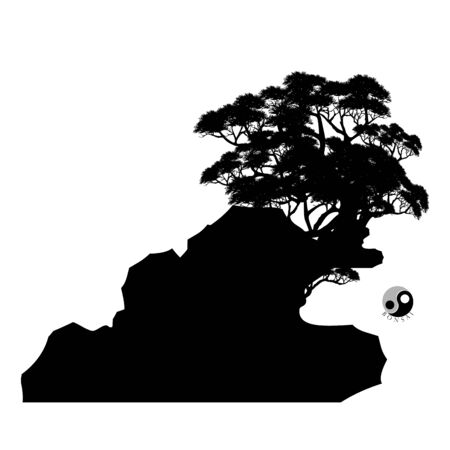 vector of Bonsai, Black silhouette of bonsai. Vector illustration. Original bonsai style vector illustrations. Decorative arts Small plant, dwarf trees, ornamental plants.