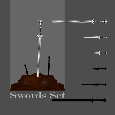 3d swords set. sword isolated on background , Military sword  ancient weapon design silhouette, European straight swords,vector illustration, Daggers and Knifes Hand Drawn