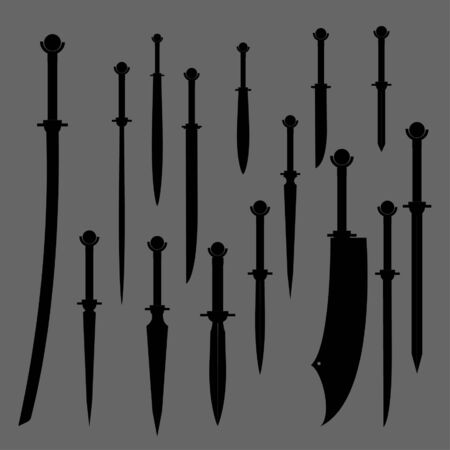 swords set. sword isolated on white background , Military sword  ancient weapon design silhouette, European straight swords, vector illustration, Daggers and Knifes Hand Drawn
