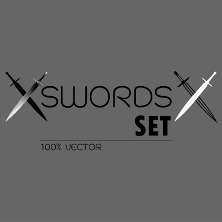 Different Sword Designs, Metal Sword, European straight swords, vector illustration, Daggers and Knifes Hand Drawn.
