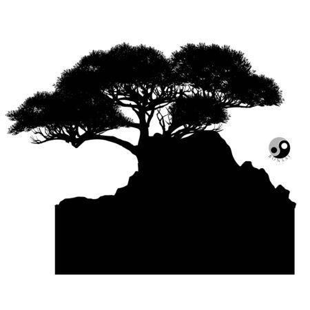 Japanese bonsai tree and stone, Black silhouette of bonsai. Detailed image. Vector Zdjęcie Seryjne - 129155503