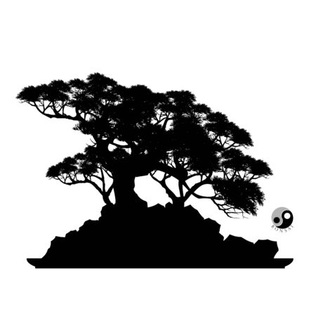 Japanese bonsai tree and stone, Black silhouette of bonsai. Detailed image. Vector Vettoriali